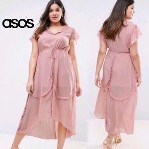 Asos Truly You Dusty Chiffon Ruffle Tea Maxi Dress